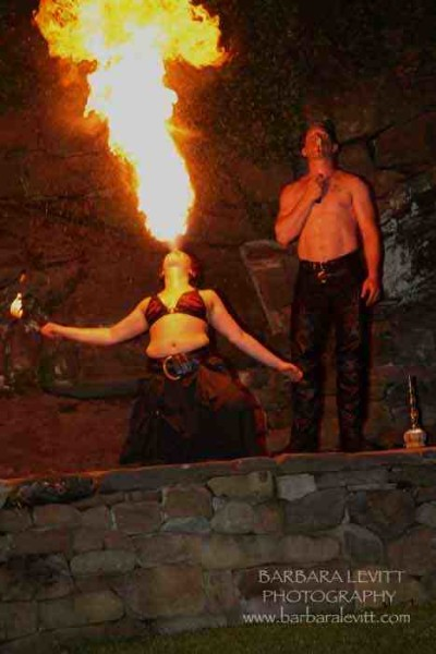 A Fire Eater performs at Notte di Fellini