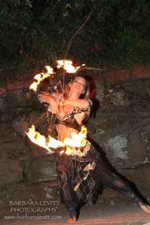 A fire performer at Notte di Fellini