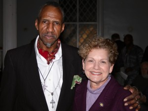 Sam Waymon and New York State Assemblywoman Ellen Jaffee, who presented Sam with a Citation honoring his life and career and invited him to Albany to recognize his contribution to Rockland County at a meeting of the of State Assembly. Photo by Michael A Frank.
