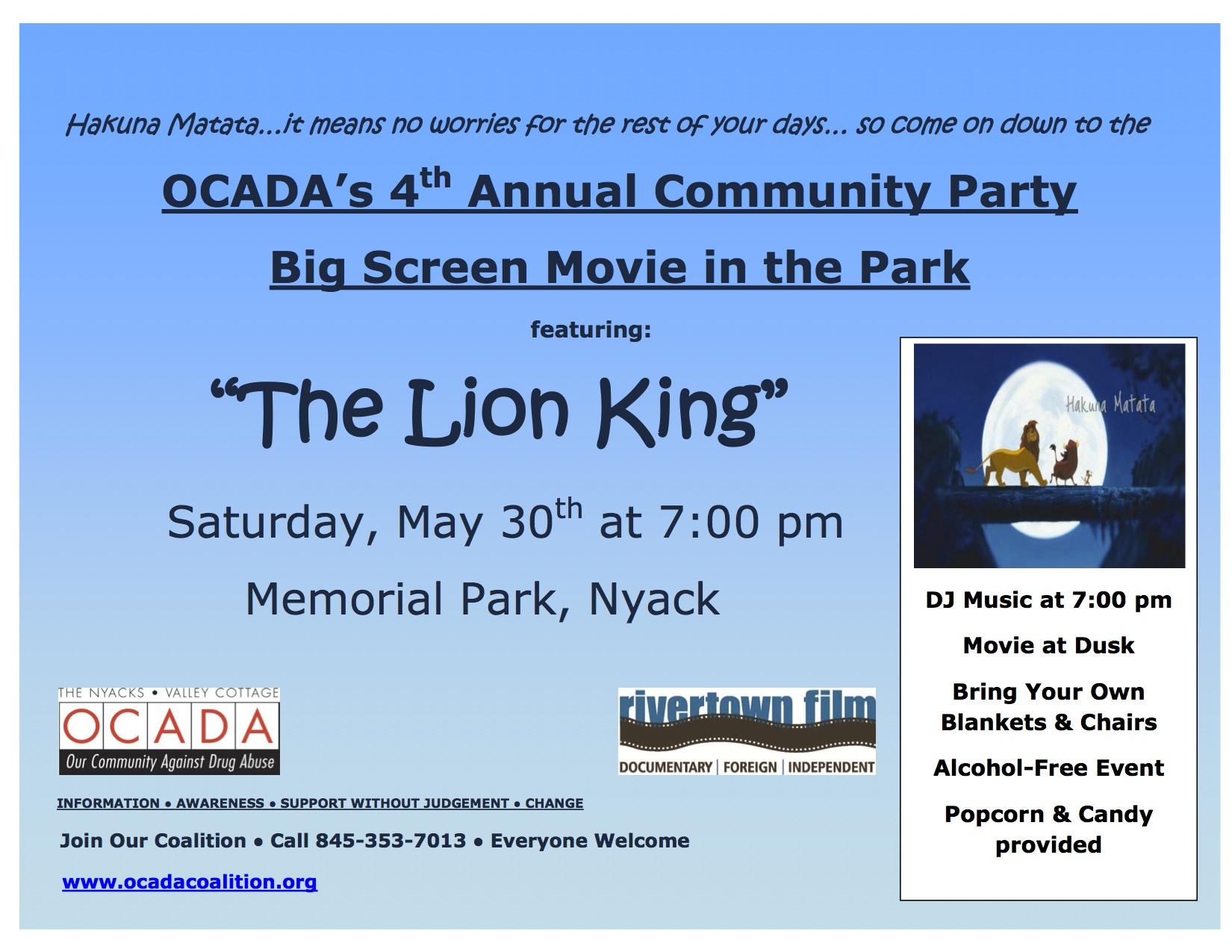 OCADA Community Party Flyer 2015
